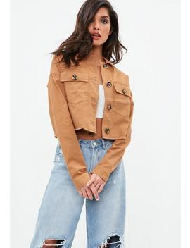 Brown Cropped Raw Edge Trucker Jacket by Missguided