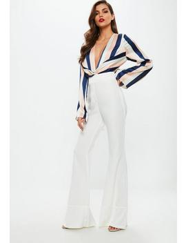 White Kick Flare Pants by Missguided