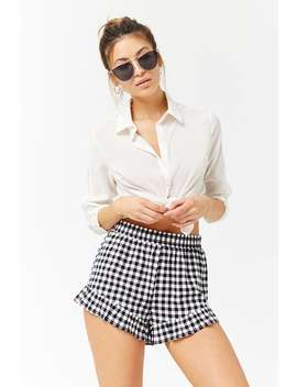 Gingham Ruffle Trim Shorts by Forever 21