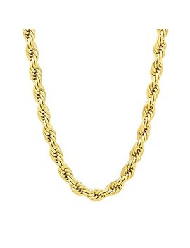 5mm 14k Gold Plated Rope Chain Necklace + Microfiber Jewelry Polishing Cloth by The Bling+Factory