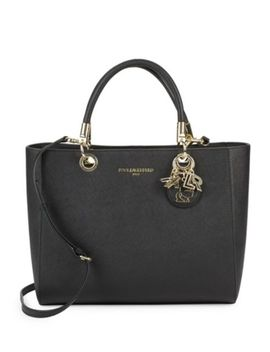 Embellished Faux Leather Satchel Bag by Karl Lagerfeld