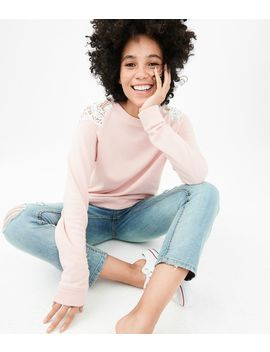Solid Crochet Shoulder Sweatshirt by Aeropostale