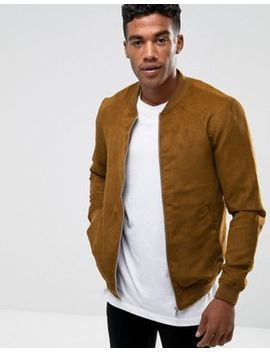 Pull&Bear Faux Suede Bomber In Tan by Pull&Bear
