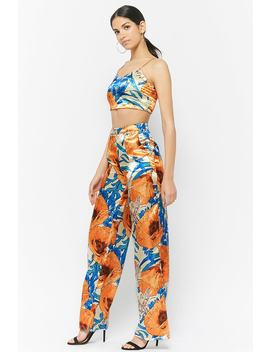 Satin Floral Crop Top & Pants Set by Forever 21