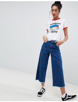 Hello Kitty X Asos Ringer T Shirt With Bonjour Print by Asos Design