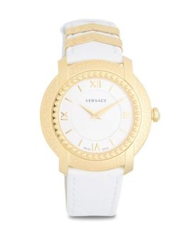 Stainless Steel Leather Strap Watch by Versace