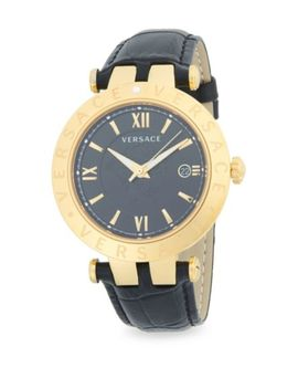 Logo Stainless Steel And Leather Strap Watch by Versace