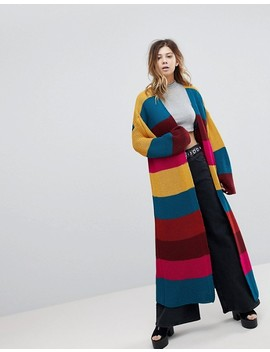 Rokoko Rainbow Stripe Maxi Chunky Knit Cardigan by Rokoko