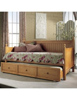 Fashion Bed Group Casey Ii Wood Twin Daybed With Roll Out Trundle Drawer, Honey Maple by Leggett & Platt