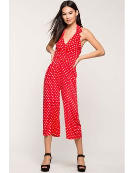 Polka Halter Culotte Jumpsuit by A'gaci