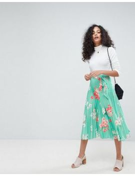 Asos Pleated Midi Skirt With Belt In Floral Print by Asos Collection