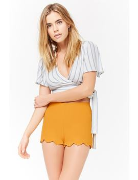 Scalloped High Waist Shorts by Forever 21