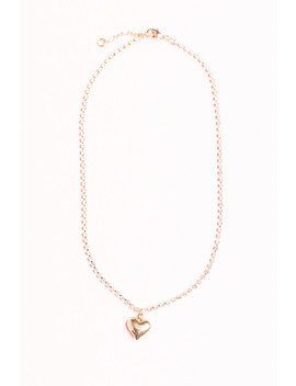 Rhinestone Gold Heart Charm Necklace by Brandy Melville