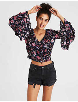 Ae Wrap Front Ruffle Sleeve Top by American Eagle Outfitters