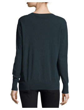 Slash V Neck Oversized Pullover Sweater by Neiman Marcus