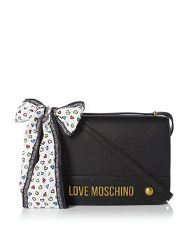 Metal Lettering Flapover Shoulder Bag by Love Moschino