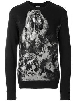 Horse Print Sweatshirt by Balmain