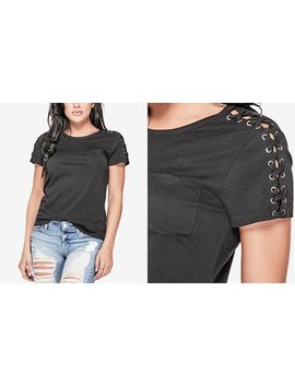 Ss Lace Up Sleeve Tee by Guess