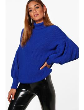 Lucy Roll Neck Balloon Sleeve Knitted Jumper by Boohoo