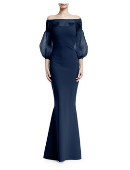 Moyer Illusion Balloon Sleeve Gown by Chiara Boni La Petite Robe