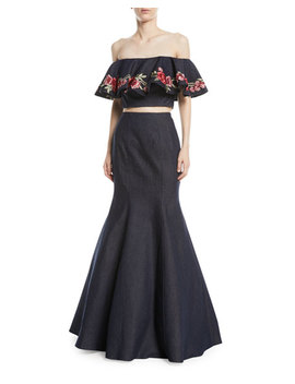 Floral Embroidery Two Piece Denim Top And Skirt Set by La Femme