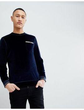 Ted Baker – Marineblaues Velours Sweatshirt by Ted Baker