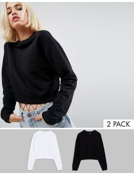 Asos Cropped Sweatshirt 2 Pack Save 10 Percents by Asos Collection