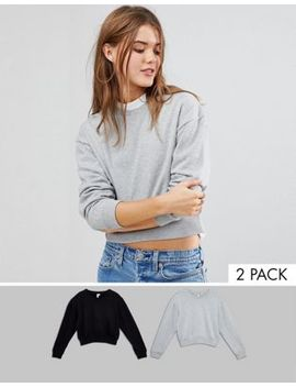Asos Oversized Cropped Sweatshirt 2 Pack Save 10 Percents by Asos Collection