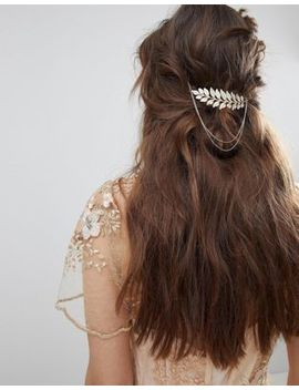 Asos Design Leaf And Chain Back Hair Clip by Asos Design