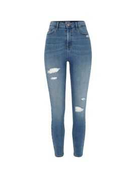 Mid Blue Rip Harper High Waisted Skinny Jeans                                  Mid Blue Rip Harper High Waisted Skinny Jeans by River Island