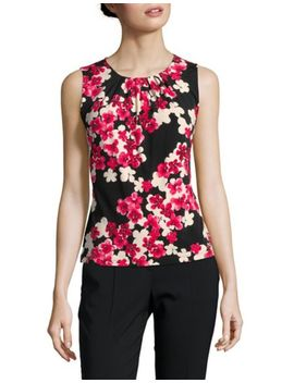 petite-floral-print-pleated-top by calvin-klein