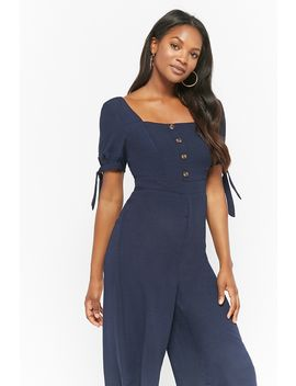 Button Front Culotte Jumpsuit by Forever 21