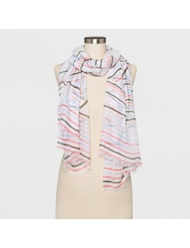 Women's Striped Oblong Scarf   A New Day™ White by A New Day™