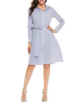 Fanala Women Casual Vertical Stripe Long Sleeve Pleated Belted Midi Shirt Dress by Fanala