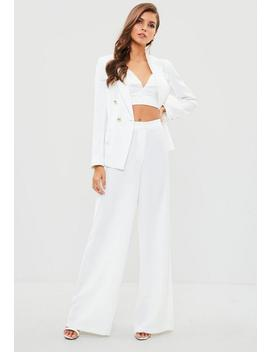 White Wide Leg Pants by Missguided