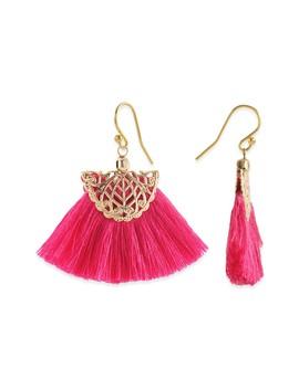 Filigree Fushsia Tassel Fan Earrings by Taolei
