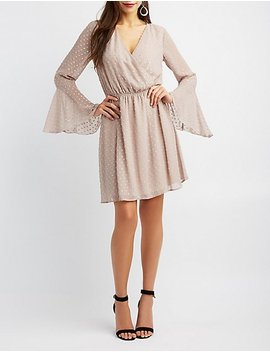 Bell Sleeve Surplice Skater Dress by Charlotte Russe