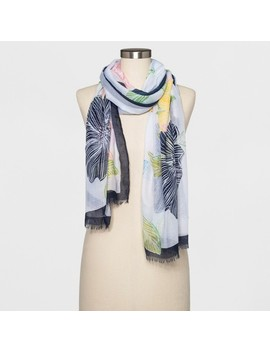 Women's Floral Oblong Scarf   A New Day™ White by A New Day™