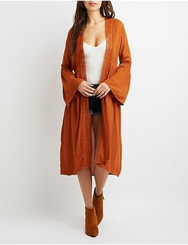 Crochet Trimmed Open Front Duster by Charlotte Russe