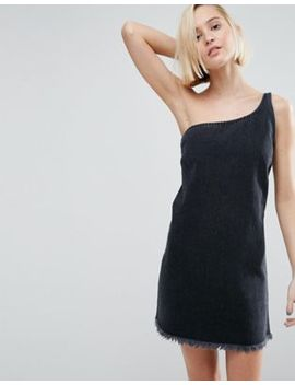 Asos Denim One Shoulder Slip Dress In Washed Black by Asos Collection