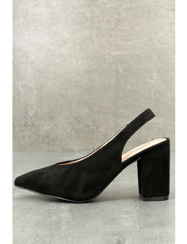 Aislin Black Suede Slingback Pumps by Lulu's