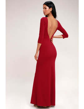 Kymber Wine Red Backless Maxi Dress by Lulus