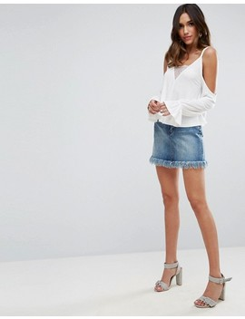Asos Top With Cold Shoulder With Lace Insert & Blouson Sleeve by Asos Collection