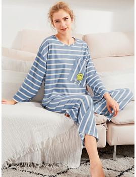 Smiley Print Striped Tee & Pants Pj Set by Sheinside