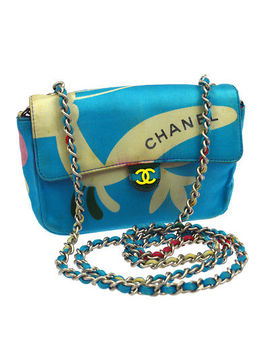 Auth Chanel Quilted Cc Single Chain Shoulder Bag Blue Satin Vintage Shw Nr10705 by Chanel