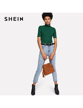 Shein Green High Neck Rib Knit Plain T Shirt 2018 Spring New Short Sleeve Slim Work Clothing Tee Women Casual Basic Top Tee by Ali Express