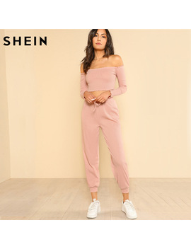 Shein Women 2 Piece Set Top And Pants Casual Woman Set Pink Off The Shoulder Crop Bardot Top And Drawstring Pants Set by Ali Express