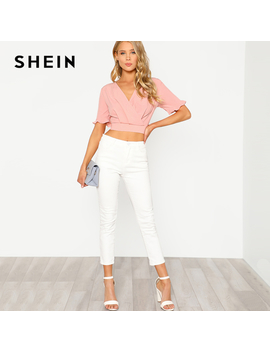 Shein Pink Elastic Hem Surplice Wrap Crop Top Women Deep V Neck Short Sleeve Party Blouse Spring Ruffle Sexy Short Sleeve Blouse by Ali Express