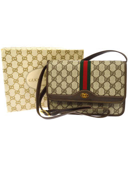 Auth Gucci Gg Shelly Line Dead Stock Cross Body Shoulder Bag Beige Pvc Ak18427 by Gucci