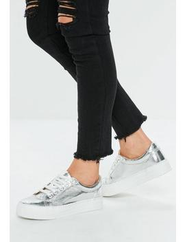 Silver Cracked Metallic Flatform Sneakers by Missguided